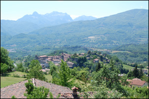 View of Castiglione, in the background you can see the Apuane Alps